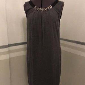 Charcoal grey Shift size m 6-8 scoop neck and bow